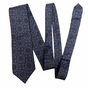 Vintage Givenchy Tie 100% Silk Blue Floral EUC